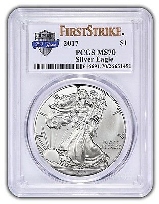 2017 $1 American Silver Eagle PCGS MS70 First Strike 225th Label