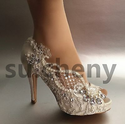 "3"" 4"" heel crystal white ivory silk lace open toe Wedding shoes Bride size 5-9.5"