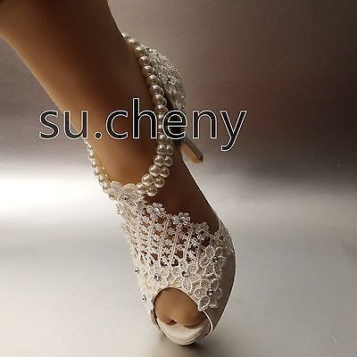 "3"" 4"" heel silk white ivory lace open toe pearls anklet Wedding shoes size 5-9.5"