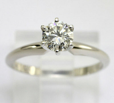 Diamond engagement ring 14K white gold solitaire round brilliant .61CT new sz 6