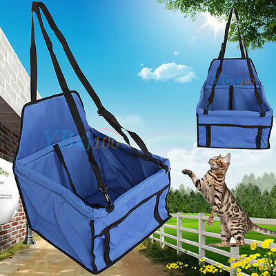 Portable Pet Car Booster Seat Safety Dog Cat Puppy Carrier Cage Travel Bag Blue