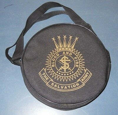 """Vintage Salvation Army 8"""" Tambourine With Blood & Fire Tote Bag Carrier"""