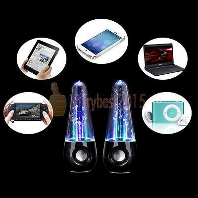 USB Dancing Water Speakers Coloured LED Set For PC Laptops Tablets Mobiles Black