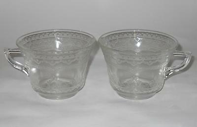Federal Glass 1932-1937 ~ Patrician Spoke ~ Clear Glass Cups Mugs (2)