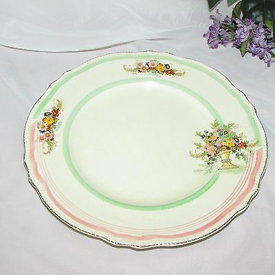 Antique Royal Winton Grimwades Dinner Plate Pink Green Band Vase Flowers Rare