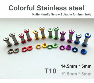 """0.56""""(14.5mm) colorful Stainless steel Knife Handle Screw Suitable for 5mm hole"""