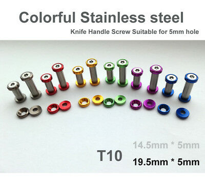 """0.76""""(19.5mm) colorful Stainless steel Knife Handle Screw Suitable for 5mm hole"""