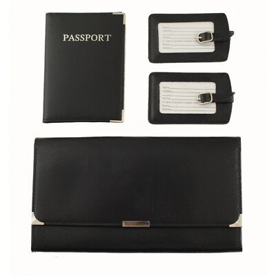 Leather Travel Wallet Organiser Document Set Black - Brand New