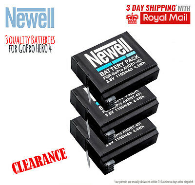 3x Quality Battery for GoPro HERO 4 spare replacement batteries 1160 mAh durable