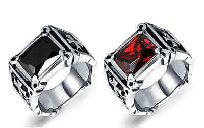 Men's Vintage Red Ruby Black Stainless Steel Cross Antique Punk Silver Ring Band