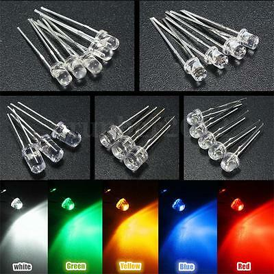 10/500pcs 3mm/5mm 5 Color Water Clear LED Diodes Kit Assortment Lamp Bulb DIY US