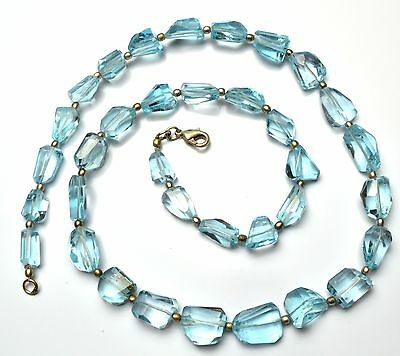 Super Fine Quality Natural Blue Topaz Faceted Fancy Cut Nuggets Necklace 280Cts.