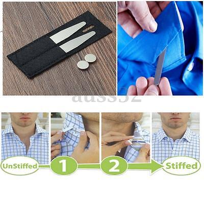 """1Pair 2.1"""" Silver Collar Stiffeners Stays with 2pcs Magnets + 1 Black Wallet Bag"""