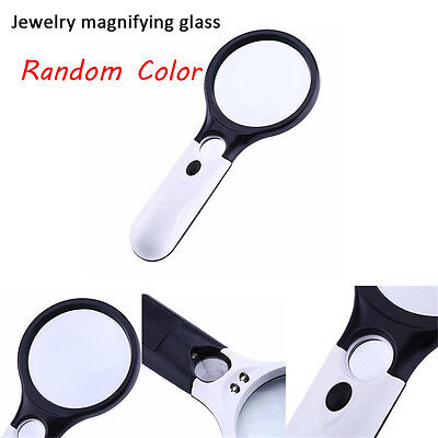 3-LED Light 45X Handheld Magnifier Reading Magnifying Glass Jewelry Loupe