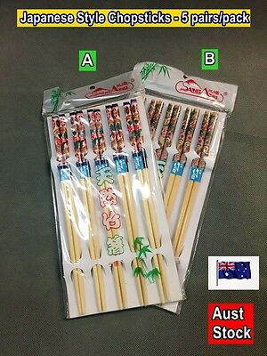 Japanese Style Chopsticks 5 pairs/pack - New (Two patterns) (A102)