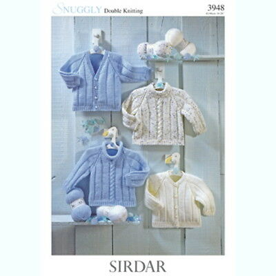 Sirdar Baby Knitting Pattern Cardigans Sweaters 3948 - Snuggly DK