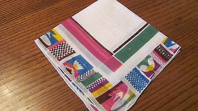 Vintage Geometric Cotton Hankie Spring Pastel Colors Pink Green Blue Yellow