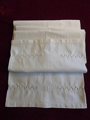 ANCIENNE TAIE 03 TRAVERSIN BRODEE METIS MONOGR BC 176cm EMBROIDERED BOLSTER CASE