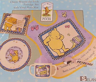 NEW 5-Piece Classic Winnie the Pooh Porridge Set - Bib/Cup/Bowl/Spoon/Mat
