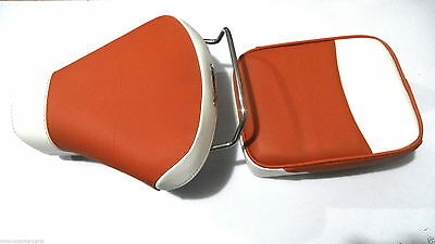 Vespa Front Saddle Rear Seat Set White & Tan Color Rally, VBB, PX, VLB