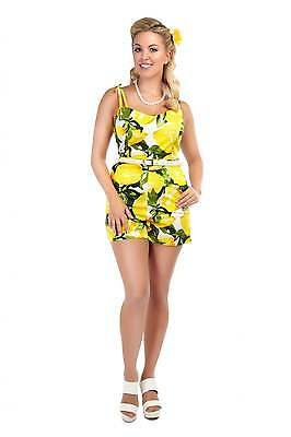 Collectif Vintage Jayne Lemons Print Playsuit (S)