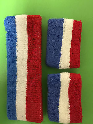Red White Blue Stripe Sports Unisex Cotton HeadBand WristBand Sweatband Set