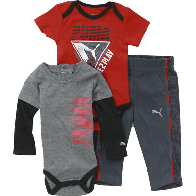 21dade38638 Puma Infant Boy s Forever Faster 3-Piece Newborn Coal Bodysuit   Pant Set