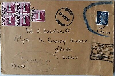 Great Britain 1972 Irlam Cover With Invalid Perfin Stamp & Postage Due Stamps