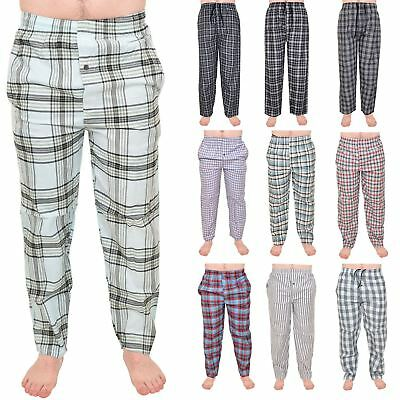 New Mens Pyjama Bottoms 100% Cotton Woven Check Lounge Pants Trousers Nightwear
