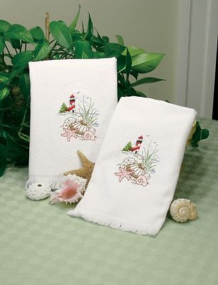 Dimensions Stamped For Crewel Embroidery Pair Lighthouse Guest Towels Seashells