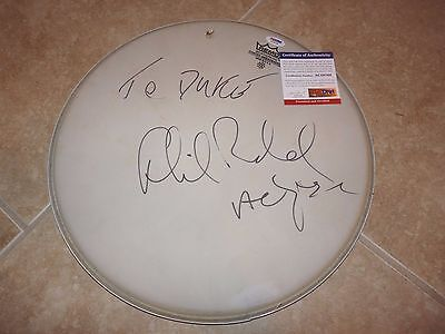 """Phil Rudd AC/DC Signed Autographed PSA Certified Used 14"""" Drumhead READ"""