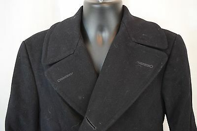 Navy Pea Coat Size 36 N140 62236 Issued Black 100% Wool Missing Buttons