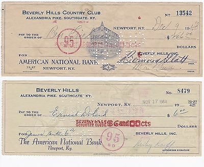 Lot of 2 Bank Checks Beverly Hills Country Club 1948 1958 Southgate Supper Paper