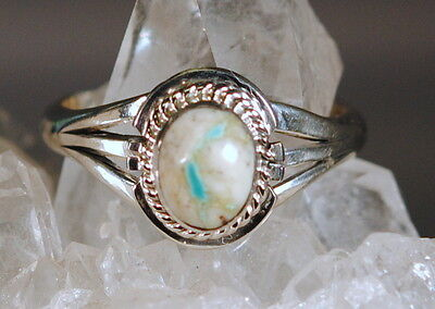 BOULDER TURQUOISE / RIBBON TURQUOISE RING Size 8 1/2 HALLMARKED STERLING