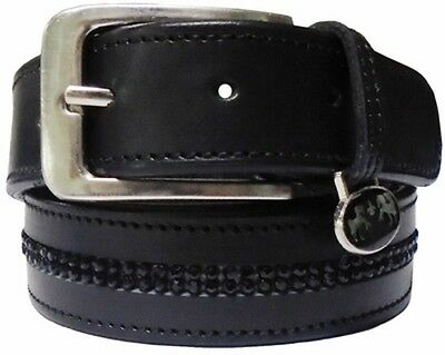Equine Couture Double Row Bling Belt (Small, Black/Light Sapphire)
