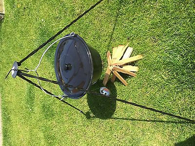 Cooking Camping Tripod With Pot, Lid and Spoon