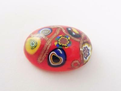 Rare Red & Gold Stone millefiori ART glass CABOCHON German OLD CZECH mosaic