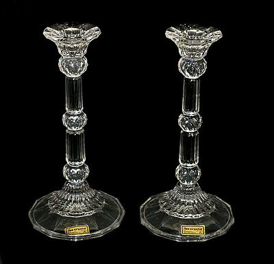 Stunning Fifth Avenue pair of Charleston crystal candlesticks in box 22cm