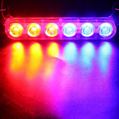 12V 6 LED Motorcycle Brake Strobe Tail Light LED Lamp Warning Bulbs Red & Blue