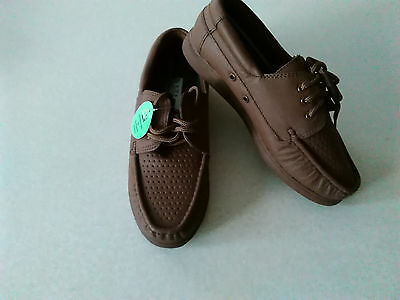 Ladies Lawn Bowls Shoes Tan Leather Moccasin Style Lace Up UK Size 5 Flate Sole