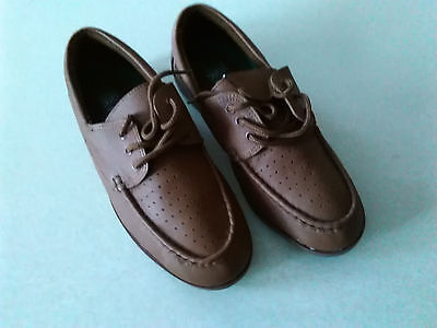 Ladies Lawn Bowls Shoes Tan Leather Moccasin Style Lace Up UK Size 7 Flate Sole