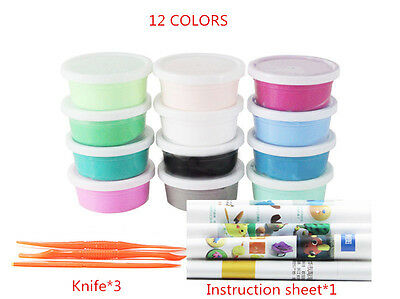 Mixed Color 12 Soft Oven Bake Polymer Clay Modelling Moulding Block Art Design
