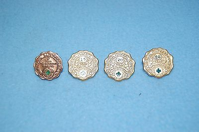 4 National Safety Council Green Cross No Accidents Lapel Pins, 2, 15, 20, 25