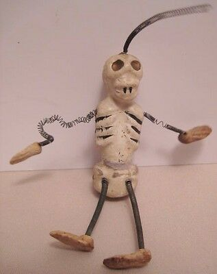 Old Halloween Composition Skeleton w/ Springy Limbs Decoration - 1930s Japan