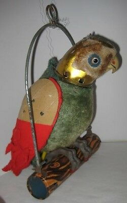 Old Battery Operated Hanging Parrot on Perch for Parts - Glass Light Bulb Eyes