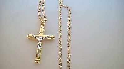 14K Solid Gold Italian Cross pendant with valentino 3 tone 14K Necklace Chain