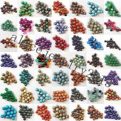 Wholesale Mixed Natural Gemstone Round Spacer Beads 4mm 6mm 8mm 10mm 12mm H293