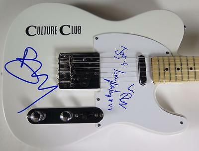 Boy George CULTURE CLUB Signed Autograph Guitar by All 4 Members