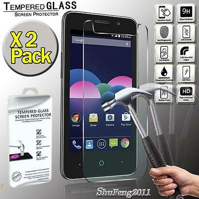 2 Pack Genuine Tempered Glass Film Screen Protector Cover For ZTE Obsidian
