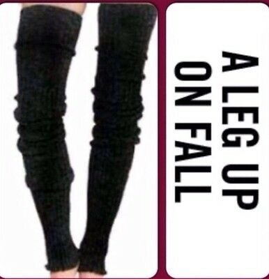 "THIGH HIGH Long LEG WARMERS Over Knee WARM Thick Cable Knit 39"" BLACK"
